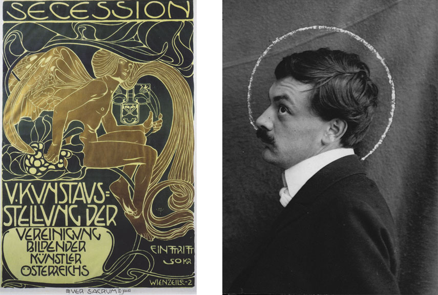 Left: Koloman Moser -Poster of five art exhibition of the association of Austrian artists of Secession, 1899 / Right: Koloman Moser portrait