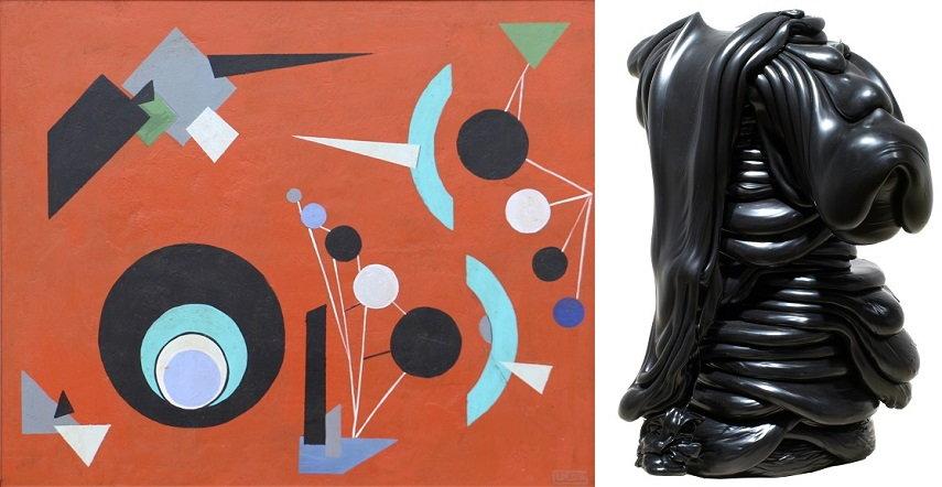 Left Lolo Soldevilla - Suprematism, 1956 Right Roxy Paine - Scumak (S2-P2-DB53), 2008