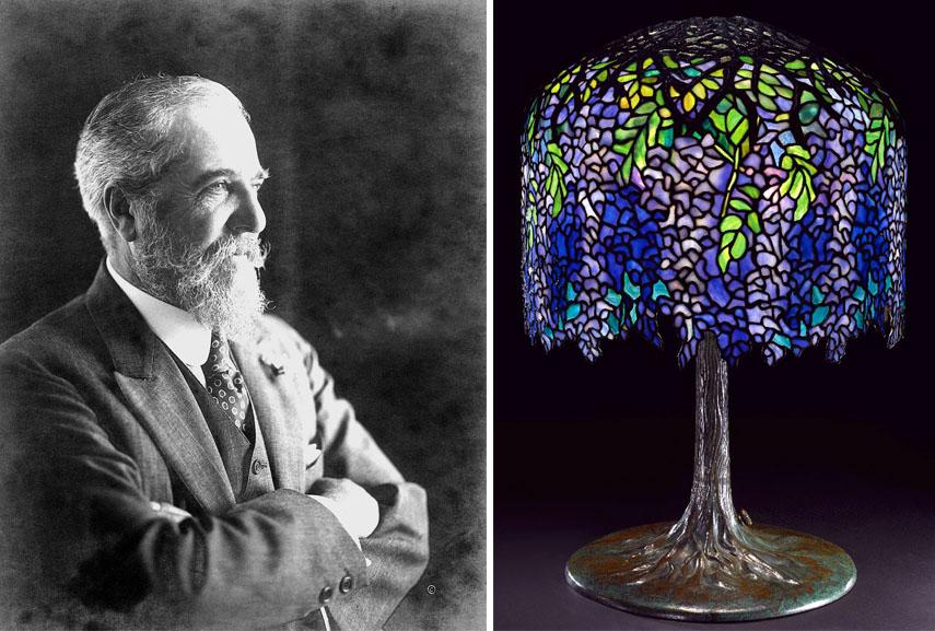Left: Louis Comfort Tiffany portrait / Right: Louis Comfort Tiffany - Wisteria lamp, c. 1902