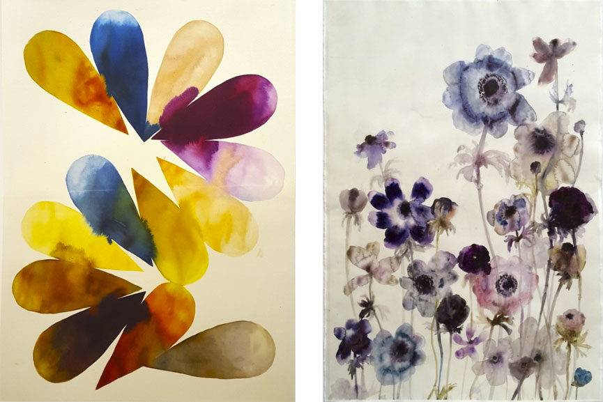 Left Lourdes Sanchez - Implied Velocity 4, 2016 Right Lourdes Sanchez - Anemones 8, 2015