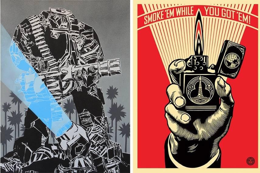 Left:  M-City - artwork . Right: Shepard Fairey - Smoke 'em While You Got 'em 23rd 557c exhibitions west