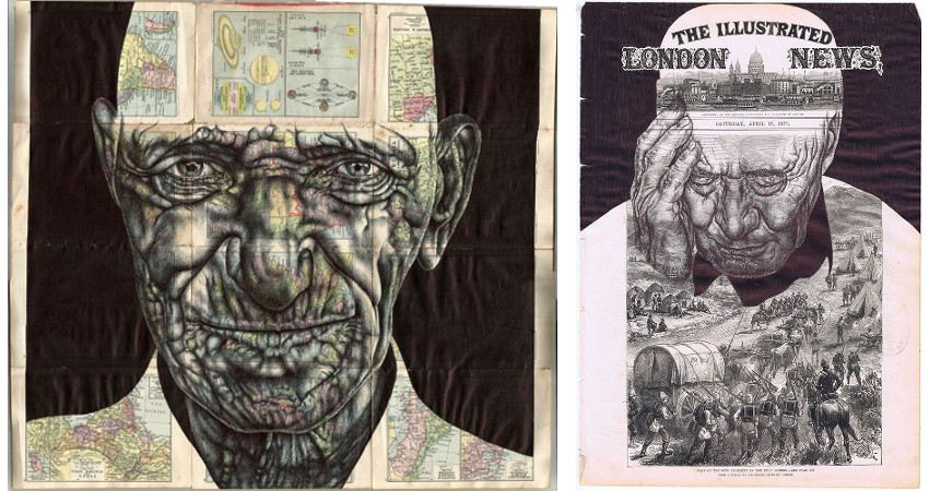 Left Mark Powell - Fences Burn and Civilisations Grows, 2015, Right Mark Powell - History Lessons (Firewood), 2014