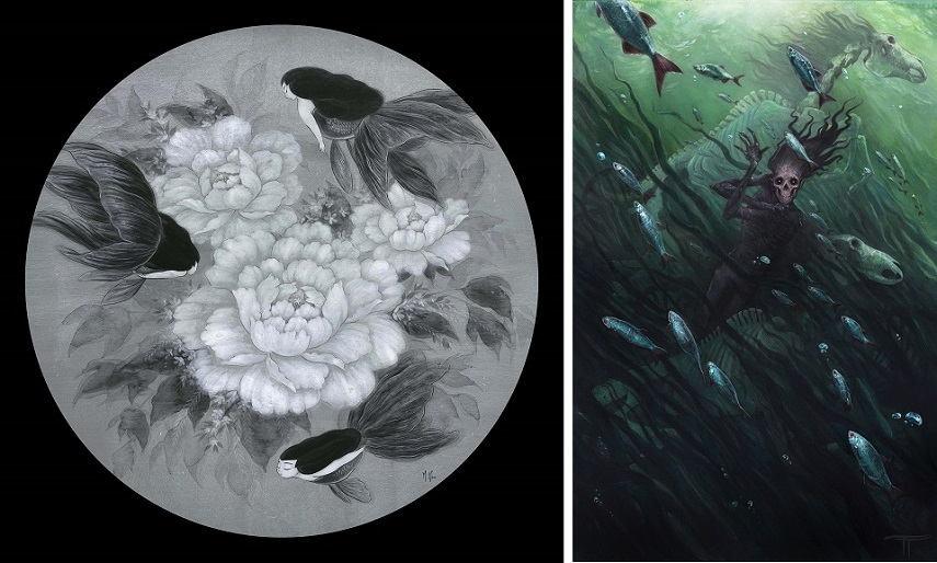 Left Martin Hsu - Goldfish Mermaids Black Peonies Right Tiffany Turrell - Hell Kettles