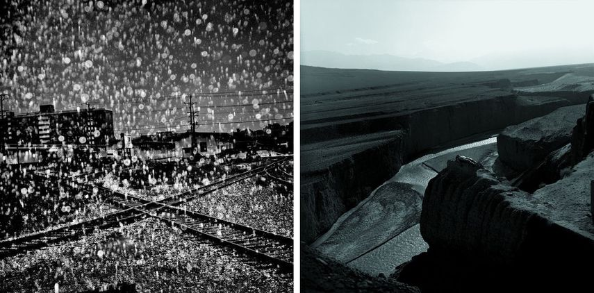Left: Matt Black - Rainstorm, Pennsylvania, 2015, Courtesy of Magnum Photos (London, Paris & New York) / Right: Rongrong & Inri - In the Jiayuguan, China, No. 2, 2000. Courtesy of Three Shadows +3 Gallery, Beijing and Xiamen