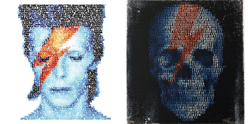 Left Mike Edwards - Bowie Handwritten Songs, 2013, Right Mike Edwards - Dancing Skull, 2013