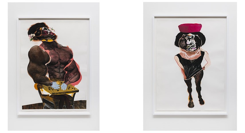 Left: Nathaniel Mary Quinn - LaLa, 2014 / Right:Nathaniel Mary Quinn - Sister Odell, 2014