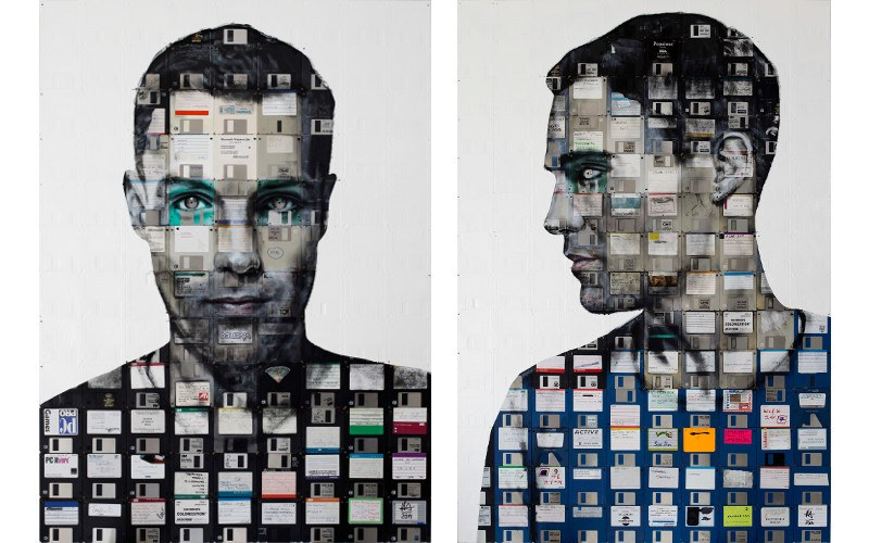 Left Nick Gentry - Self Portrait 4, 2014, Right Nick Gentry - Self Portrait 5, 2014, disks new life contact