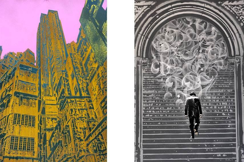 Left: Nick Walker - Transformer Buildings / Right: Nick Walker - The Departure 2013 tma edition morning post 2015 tma print