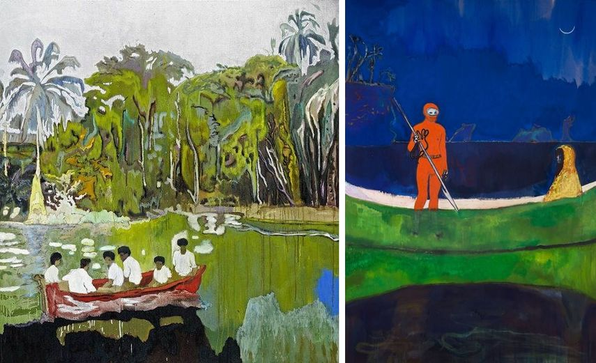 Left Peter Doig - Red Boat (Imaginary Boys), 2004, via peterdoig.mbam.qc ca Right Peter Doig - Spearfishing, 2013, via peterdoig.mbam.qc ca