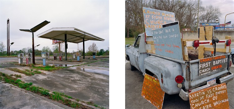 Left: Phil Bergerson - Adel, Georgia, 1998, American Artifacts / Right: Phil Bergerson - Montgomery, Alabama, 2004, American Artifacts