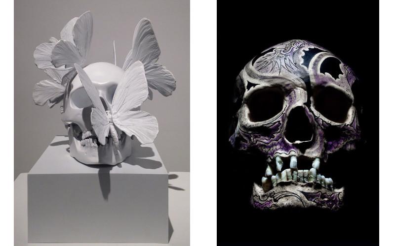 Left Philippe Pasqua - Untitled, Right Philippe Pasqua - Crane Face Tatouage, Violet, 2012