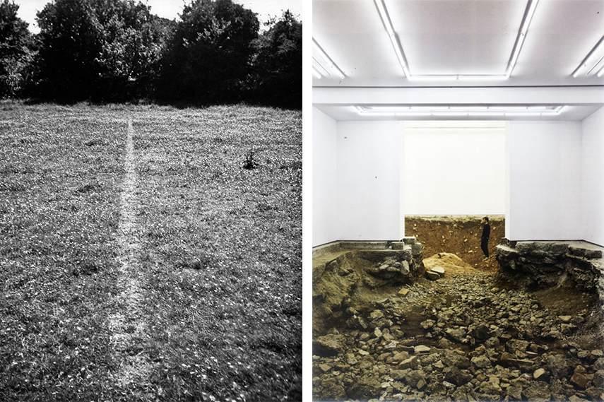 Left: Richard Long - A Line Made By Walking, 1967 / Right: Urs Fischer interior land art