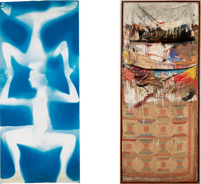 Robert Rauschenberg and Susan Weil, Bed, 1955, a combination of White and blue colors