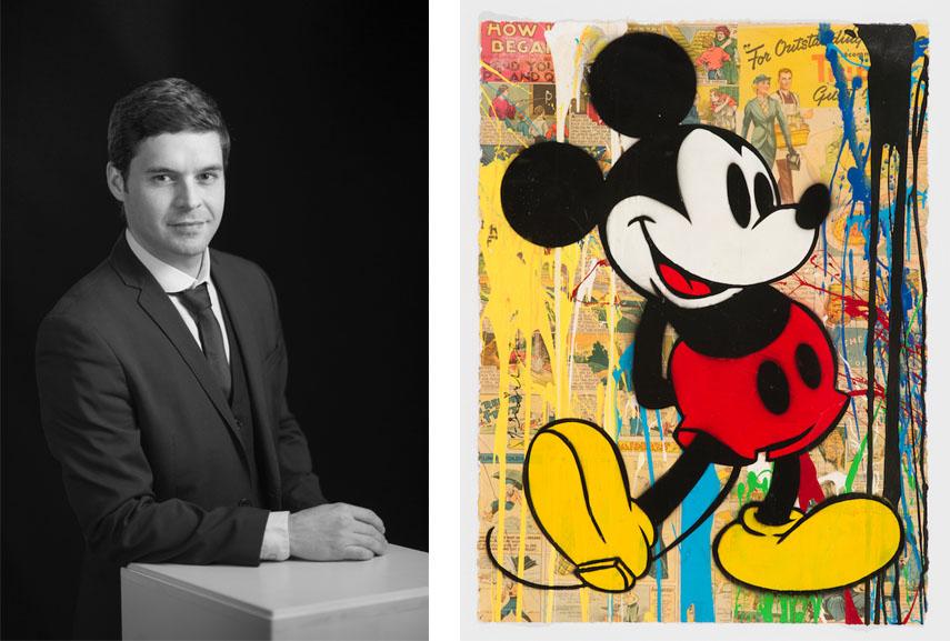 Left Romain Perrot, Galartis Right Mr Brainwash - Mickey, 2014. Galartis Hôtel des Ventes Bois-Genoud 1 lausanne crissier suisse