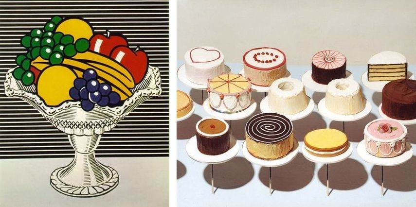 Left: Roy Lichtenstein - Still Life With Crystal Bowl, via scottzagarstudio.com / Right: Wayne Thiebaud - Cakes, 1963