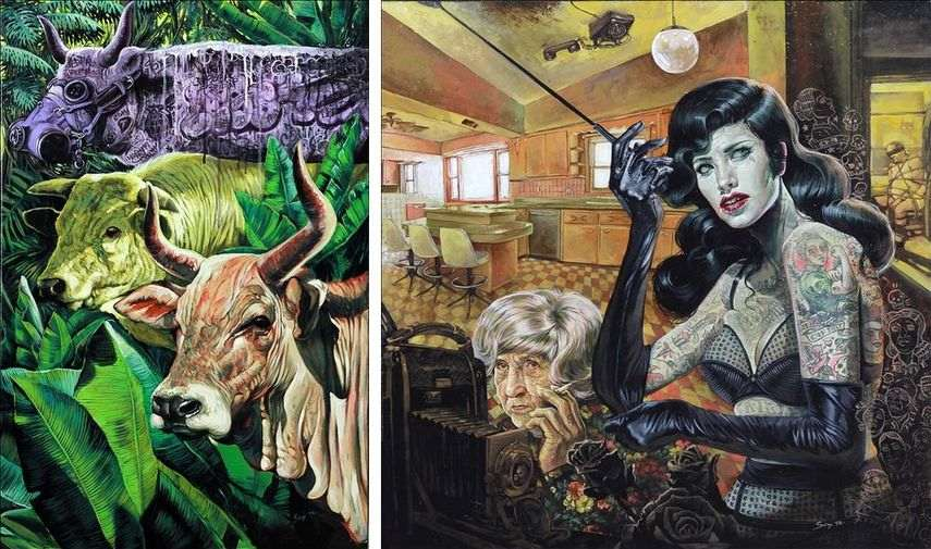 his blog features acrylic pieces on canvas and paper drawings