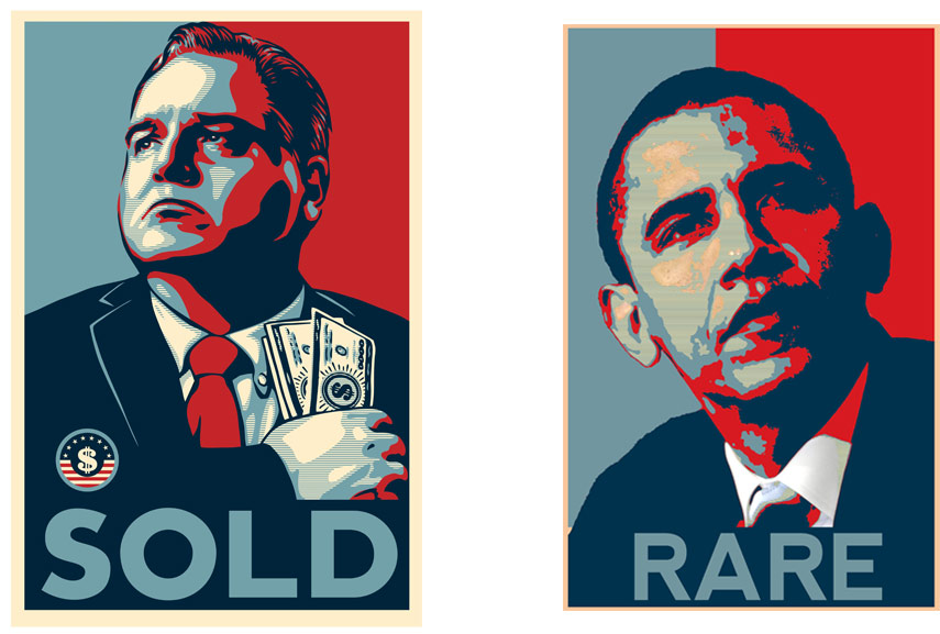 Left: Shepard Fairey - Honest Gil Fulbright SOLD / Right: Shepard Fairey - Barack Obama. Images via wikipedia.org