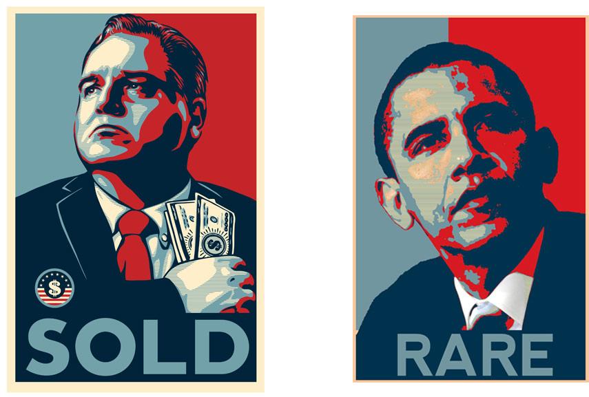 Left: Shepard Fairey - Honest Gil Fulbright SOLD / Right: Shepard Fairey - Barack Obama. Images via wikipedia.org