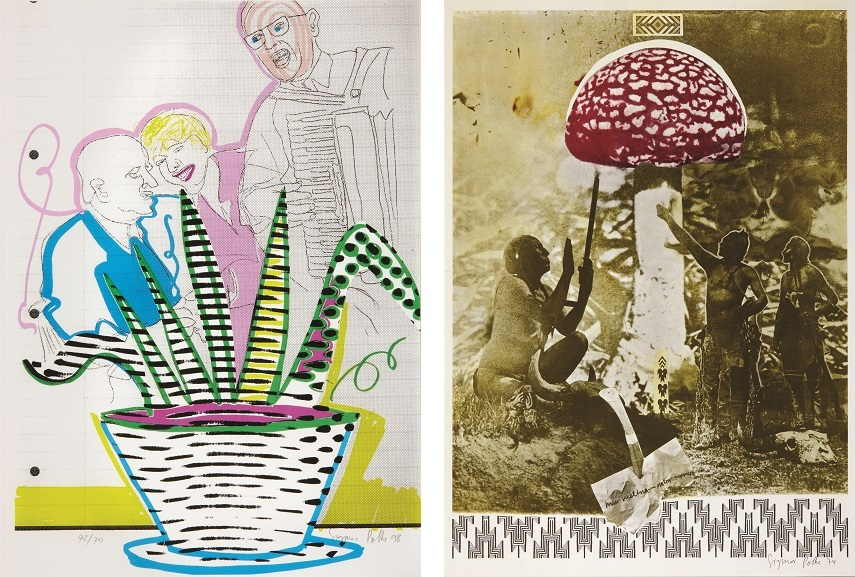 Left Sigmar Polke - Betriebsfest,1998 Right Sigmar Polke - Mu nieltnam netorruprup, 1975