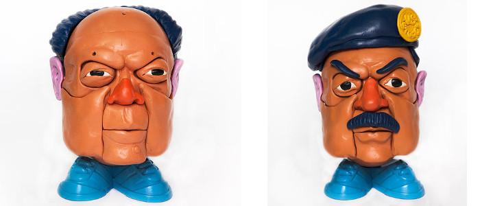 Left - Stephen Ives - Mr Dictator Head Mao, Toy series, 2010, Right - Stephen Ives - Mr Dictator Head Saddam, Toy series, 2010, photo credits - artist