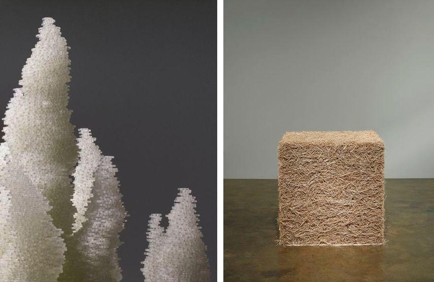 Bluffs (detail), 2016, Untitled (Toothpicks), 2004