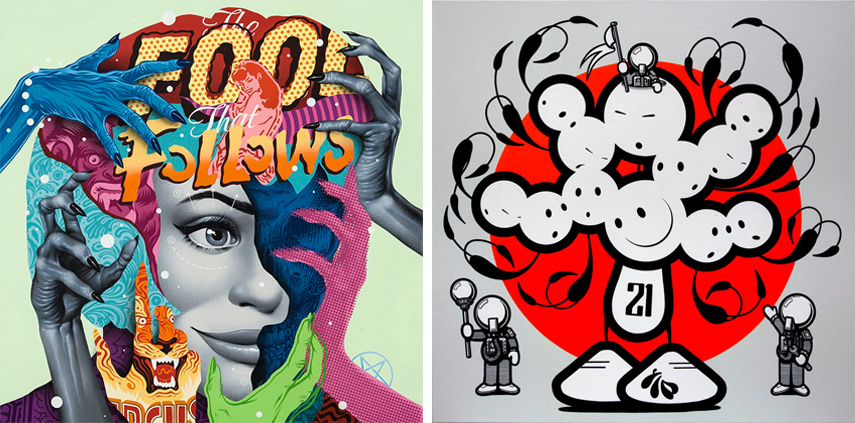 Left Tristan Eaton - The Fool That Follows, 2016 Right The London Police - Minions Guarding a 12 Headed Lad, 2017