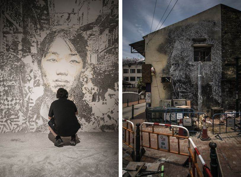 Left: Vhils in Macau, Day 3. Photo by Jose Pando Lucas / Right: Vhils in Macau, Day 6. Photo by Jose Pando Lucas
