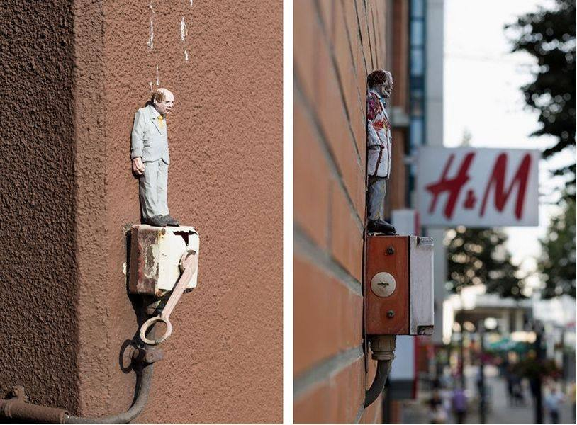 Left and Right - Isaac Cordal in herleen by Henrik Haven