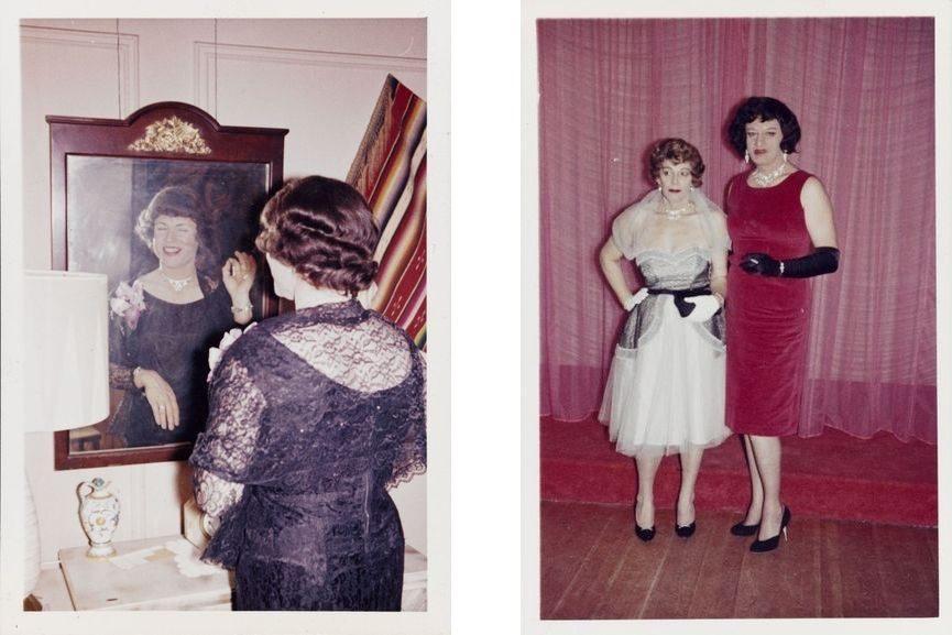 left - a transgender crossdresser at casa susanna, right - crossdressers before the party