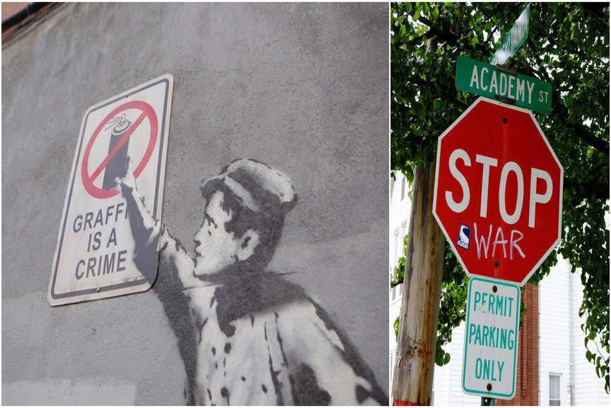 Left:Graffiti is a Crime (detail) - Banksy (famekilledart.tumblr.com)/Right:Stop War graffiti - (Flickr: Shane Henderson)
