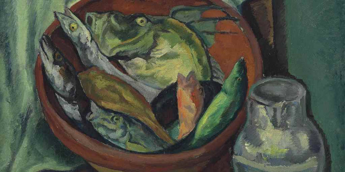 Leopold Gottlieb - Still Life With Fish (detail), circa 1925 - image via christiescom