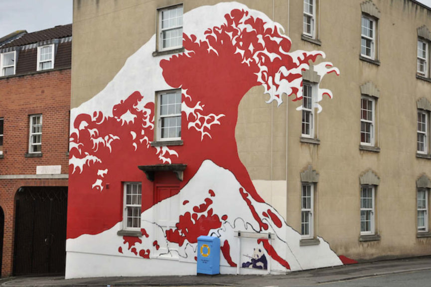 Great wave mural