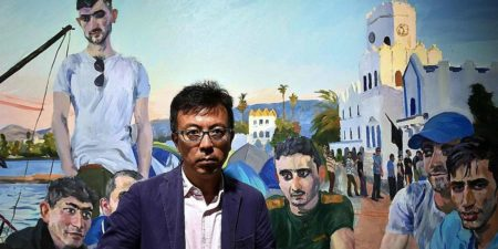 Liu Xiaodong - Artist in front of a work from his Migration series, 2016