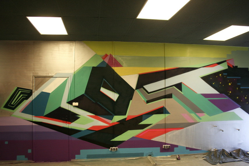The view on geometric wall artwork of Lost Optics reveal inspiration by both digital and street art