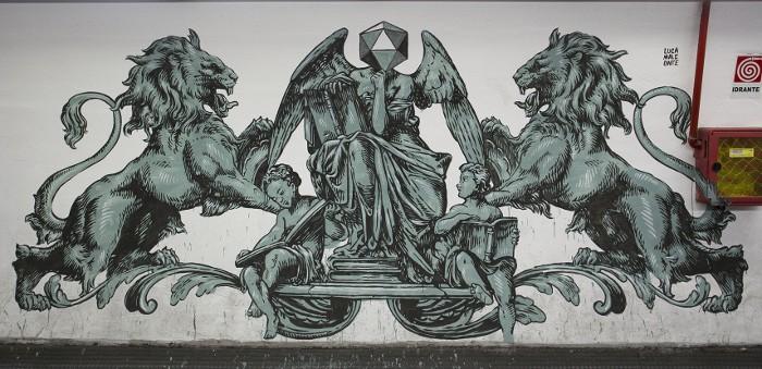 Lucamaleonte - Mural for Urban Legends Festival, Metro Station in Rome, 2014, photo credits - Il Gorgo