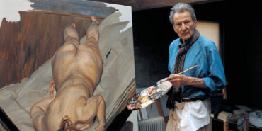 Lucian Freud in his studio - Image via anthonylawlorwordpresscom