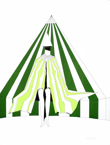Lynn Chadwick-Seated Figure on Green Stripes-1972