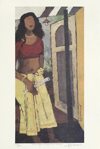 Maqbool Fida Husain-Hommage to Raja Ravi-
