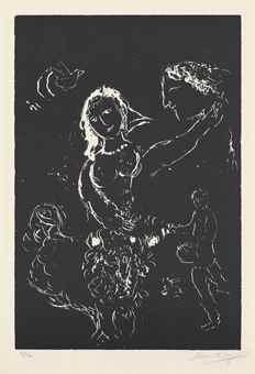 Marc Chagall-Blanc sur Noir-1972