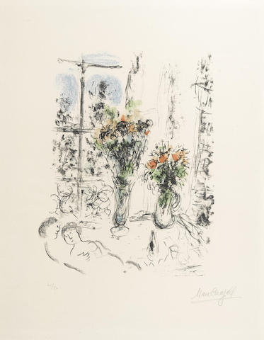 Marc Chagall-Couple with Two Bouquets-1977