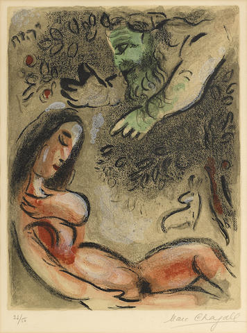 Marc Chagall-Eve maudite par Dieu, from Dessins pour La Bible-1960