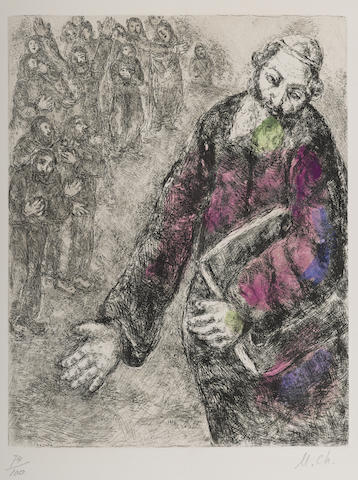 Marc Chagall-Josue lit les paroles de la loi pl. 46 from La Bible-1939