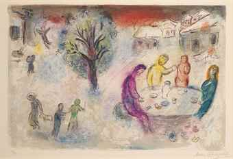 Marc Chagall-Le Repas chez Dryas, from Daphnis and Chloe-1961
