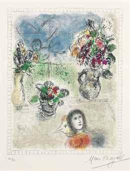 Marc Chagall-Les trois Bouquets-1976