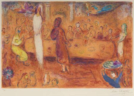 Marc Chagall-Megacles reconnait sa Fille pendant le Festin pl. 40 from Daphnis et Chloe-1961
