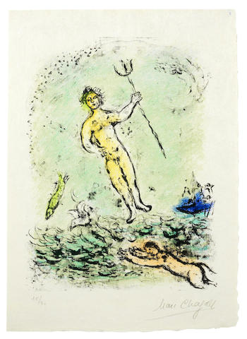 Marc Chagall-Poseidon, from The Odyssea II-1975