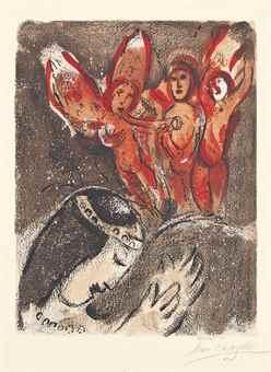 Marc Chagall-Sara et les Anges, from: Dessins pour la Bible-