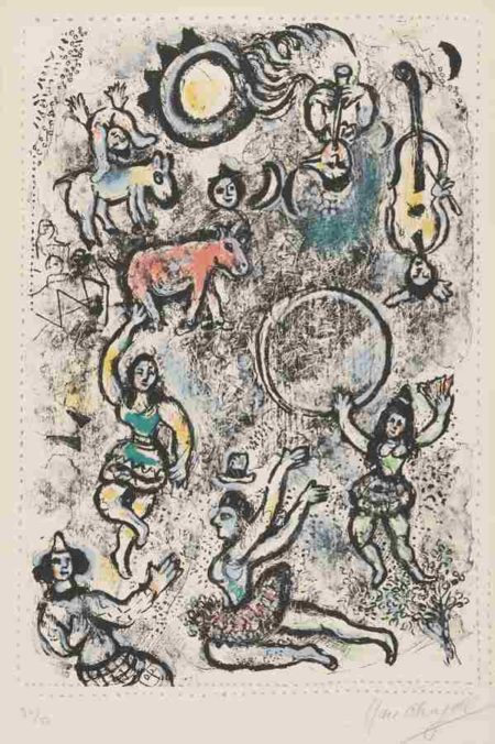 Marc Chagall-The Tumblers-1969