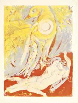 Marc Chagall-Then said the King in himself, 'By Allah, I will not slay her, until I have heard the next of her tale'..., Plate 13 from Four Tales from The Arabian Nights; So I came forth of the Sea and sat down on the edge of an Island in the Moonshine-1948