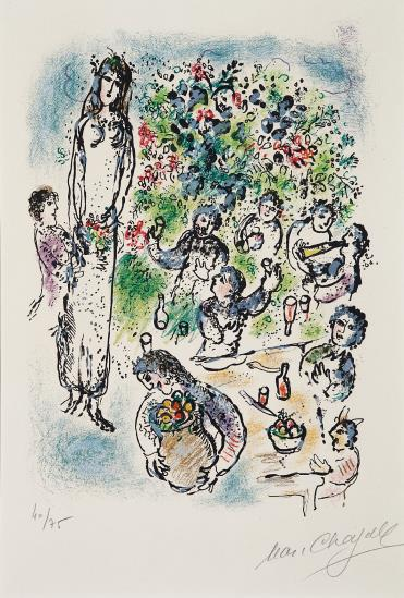 Marc Chagall-Tous alors, ayant leurs coupes pleines versaient des libations... from Sur la terre des Dieux (Then All Poured Libations from their Brimming Cups, from Land of the Gods)-1967